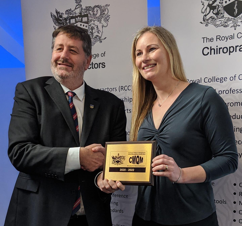 Receiving the CMQM Award